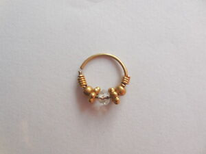 Gold Plated Crystal Beaded Indian Nose ring Bali Jewellry Hoop Piercing Fashion
