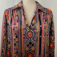 Vintage 70s Hippy Boho Floral Blouse M Multicolored Balloon Sleeves Collared