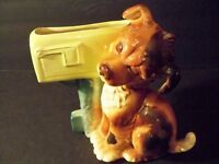 VINTAGE PLANTER PUPPY DOG AND MAILBOX ROYAL COPLEY 8 3/4'' PLANTER 1950s