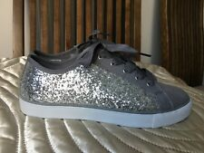 New Clarks Girls Sparkly Sequins Lace Up Trainers Canvas Grey 5 F UK 38 M EU