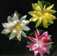 3 FLOATING ARTIFICIAL BLOOMING WATER LILY FLOWERS FOR POND