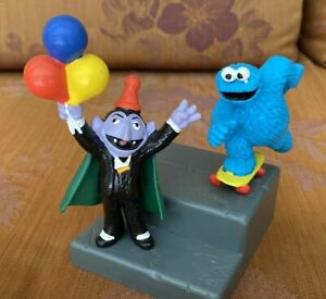 COUNT & COOKIE MONSTER VINTAGE SESAME STREET BIG PVC MUPPET TOY FIGURES APPLAUSE