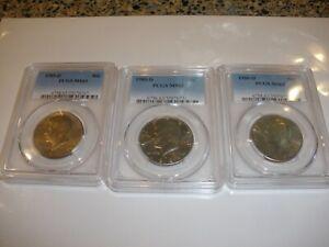 1985-D ,1989-D & 1990-D D Kennedy Half Dollars ALL MS63