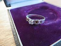 Ausgefallener 925 Silber Ring Solitär Vintage Zirkonia wie Diamant Signiert LS