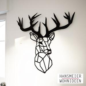 Hansmeier   Hirsch-Wanddeko aus Metall   83 x 93 cm   Geweih Deko