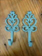 "2 BLUE HEART SWIRL WALL HOOKS 5"" antique style distressed shabby chic key coat"