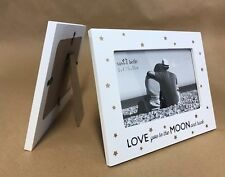 Love You to The Moon & Back Photo Frame Gold White Cream Home Portait Fun Gift