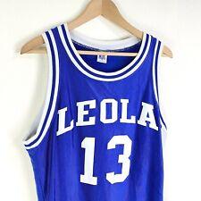 Vintage 90s Russell Leola #13 Nylon Basketball Jersey Size 42 Mens L Blue White