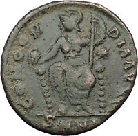Gratian 367AD  Ancient Roman Coin Cross ROMA w globe & spear Rare  i31659