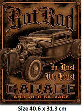 Rat Rod Garage In Rust We Trust  Tin Sign 1895  Large Variety - Post Discounts