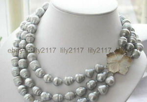 Genuine nature 11-13mm south sea gray baroque pearl necklace 20-24'' shell clasp