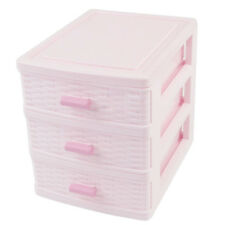 Plastic Drawer Designed 3 Compartment Jewelry Storage Box Pink N7J4