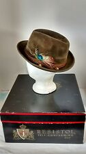Vintage Resistol Beaver 5X Fedora Tyrolean Hat and Box Rope Feather Locarno 7