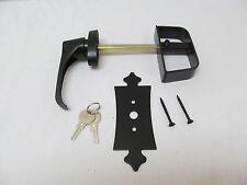 "5-1/2"" Black Decorative L Handle Door Lock Set Shed Door Gate Playhouse"