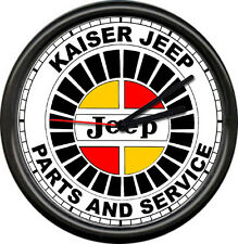 Kaiser Jeep Sales Parts Service Dealer Automobile Retro Car Sign Wall Clock