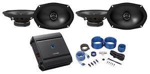 "(4) ALPINE S-S692 600w 6x9"" Car Audio 2-Way Speakers+Alpine 4-Channel Amplifier"