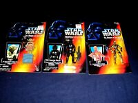 3 STAR WARS POWER OF FORCE ORANGE CARDS TIE FIGHTER YODA + 1995 HASBRO FIGURES