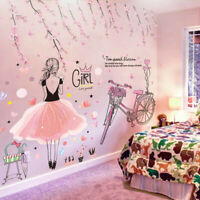 Girls Room Deocrating Wall Sticker Cartoon Princess Bike Pink Pretty Hearts