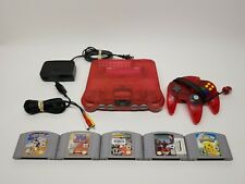 Nintendo 64 WATERMELON RED Console Set N64 OEM Controllers & Cables TESTED!