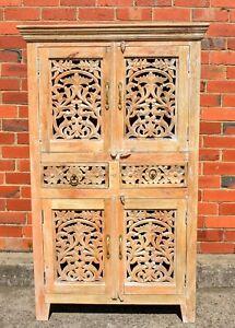 Statement Shabby Chic Wardrobe Storage Vintage Cabinet Timber Carved Indian Boho
