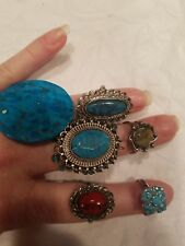 Lot of 6 adjustable Southwest style rings