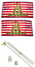 3x5 Gadsden Navy Jack 1776 2ply Flag White Pole Kit Set 3'x5'