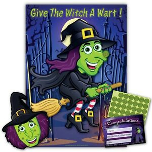 Halloween Party Game - GIVE THE WITCH A WART - 35 player, Blindfold, Certificate