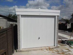 PENT ROOF SINGLE CONCRETE GARAGE - PVCu MAINTENANCE FREE