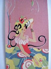 2 Vintage Art Deco Style Tally Cards w/ Charming Women in Flowered Skirts *