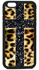 Cross Leopard print for iPhone 4 4s 5 5s 5c 6 6 plus Cover Case Glitter cheetah