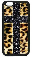 Cross Leopard print for iPhone 4 4s 5 5s 5c 6 6 plus Cover Case Glitter cheetah