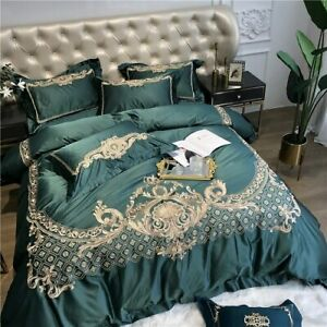 Silk Egyptian Cotton Gold Embroidery European Bedding Set Duvet Cover Bed Sheet