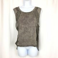 Gimmicks by BKE Shirt Size Large L Brown Casual Open Back Blouse String Striped