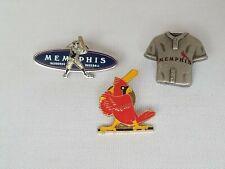 Memphis Redbirds 3 Lapel Pins - Pewter Jersey 04',Memphis Enamel 03',Redbird 85'