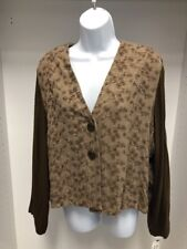 DONNA JESSICA BROWN EMBROIDERED MIXED FABRIC CARDIGAN/JACKET. NEW. SIZE 3