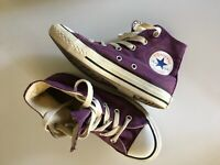 Vtg Converse All Star Chuck Taylor Youth 13 Purple & White High Top