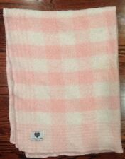 Kennebunk Baby Pink & White Blanket Check Plaid Open Weave Soft Made USA