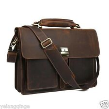 TIDING Mens Dark-brown Leather Briefcase 16