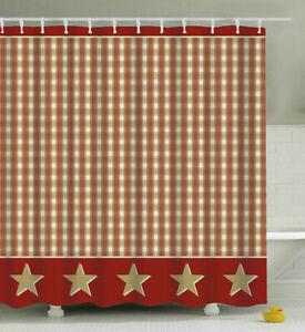 Country Plaid Stars SHOWER CURTAIN Rusty/Burgundy Taupe Tan Primitive Rustic