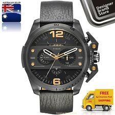 New Diesel Mens Watch Ironside Gunmetal Grey & Gold Black Leather Chrono DZ4386