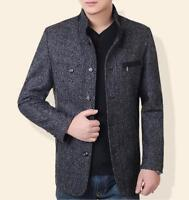 Men's Winter Fashion Casual Jacket Wool Blend Coat Collar Outwear Overcoat Black