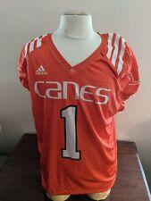 University of Miami Hurricanes adidas Orange #1 Practice Jersey Game Worn Large