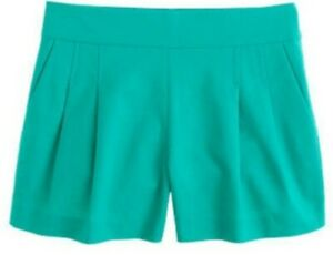 J Crew  Pleated Short In Structured Cotton Green  57806 Size 0 NWOT