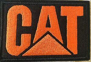 CAT CATERPILLAR Patch Logo Iron On - Orange - For Shirts Hats - Badge Dozer Dump