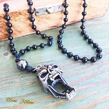 Onyx Acier Inoxydable Skull Casque Chaîne Rosaire tete de mort argent necklace Spartan 3