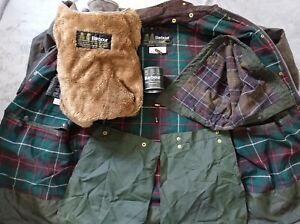 Barbour northumbria wax jacket and gilet, 2 crown rare . full tin wax  and badge