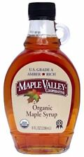 Maple Valley 8 oz. Organic Maple Syrup - Grade A Amber & Rich in Flat Glass