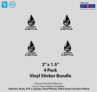 "4- Pack 2"" x 1.5"" I Support Alberta Oil Vinyl Stickers"