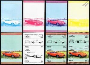 1967 JAGUAR E-Type 4.2L Car Stamps (1984 Nevis Progressive Proofs / Auto 100)