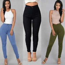 femme crayon extensible décontracté Jeans Skinny pantalon taille haute